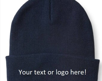 Custom Embroidered Beanie Hats Knit Hat Small Business Gear Logo Wear  Winter Hats