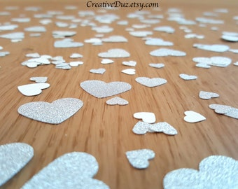 Silver Glitter Heart Confetti, Wedding confetti, Bridal Shower confetti, Engagement Party confetti, Party birthday confetti, Table confetti