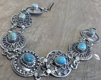 Vintage Native American Navajo Sterling Silver 925 Concho Bracelet with Bezel Set Turquoise Stones c 1930's