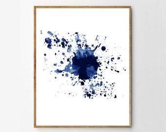 Indigo Blue Wall art Abstract Watercolor Splatter Minimalist Art Abstract Painting Contemporary art Modern Art Navy Blue Decor Beach Minimal
