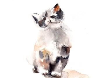 Kitten Original Watercolor Painting, Cat Painting, Cat Art, Watercolour Art, Painting of Cat