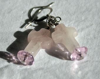 Rose Quartz Cross earrings