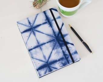 A5 Journal - 144 Unlined Pages with Shibori Fabric Cover - Awesome Boho Gift