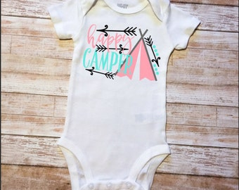 Happy Camper, Camping Bodysuit, Tribe, Camping Girl, Baby Girl Gift, Baby Shower Gift