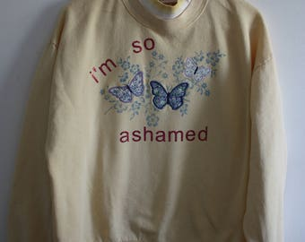 i'm so ashamed // upcycled yellow crew neck sweatshirt with butterflies :)