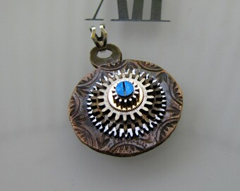 Steampunkology Stacked Gear Necklace Pendant Antique Pocket Watch Gears & Partial Copper Grandfather Clock Hand Sappire Blue Screw Steampunk