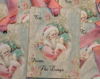 Santa Tags,  Pink Santa Personalized Christmas Tags Pink Old World Santa, Set of 12