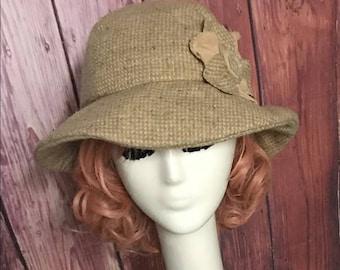 Cloche Hat Flower Beige Wool Tweed with Flower