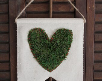 Canvas Pennant with Moss Heart | Pennant Banner | Canvas Pennant | Wall Decor
