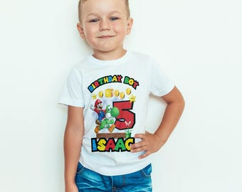 Super Mario  birthday Kids  T-Shirt, Childrens Toddlers T Shirt Top.