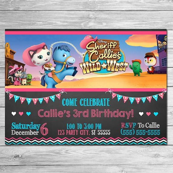 Sheriff Callie Invitation Chalkboard Sheriff Callie