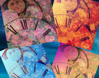 Printable Download DREAMTIME CLOCKS Digital Collage Sheet for Cards Prints Gifts Tags Original Art Print Yourself Vintage PatGullett