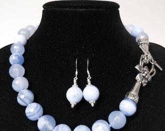 Blue Agate  Beaded Set/ Blue Agate Necklace Earring Set/ Blue Necklace Earring Set/ Beaded 16 Inch Necklace / Wedding