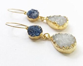 Periwinkle + White Druzy Drop Earrings + 14k Gold Fill