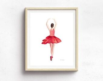 Ballerina Nursery Decor - Ballerina Wall Art Print - Ballerina Painting - Ballerina Party - Ballet Art Print - Watercolor Print - Girl Decor