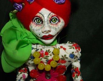 ooak art doll, red hair, flower dress