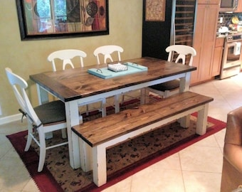 BB Farmhouse Table   Rustic Country Style Dining