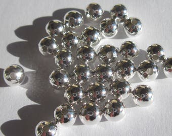 30 round beads 6 mm - bright silver metal (4121)