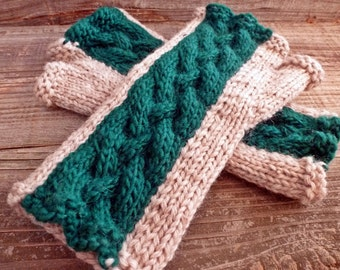 Emerald Green and Oatmeal Wool Braided Cable Fingerless Gloves Knit Mittens - 100% Wool Two Tone Stripe Rustic Country Arm Warmers Ireland