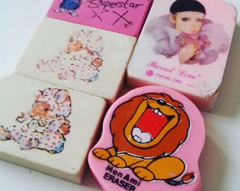 5, Vintage, retro, erasers, rubber, pinks, poirrot, mouse, lion, good condition, scented, 1980s, 80s, by NewellsJewels on etsy