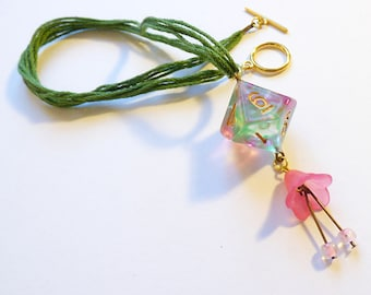 Wood Elf - Dungeons and Dragons D10, Necklace, Pendant, green, pink, nature, RPG, D&D, Jewellery, Dice, gold, ranger, dnd, nerd, d20, flower