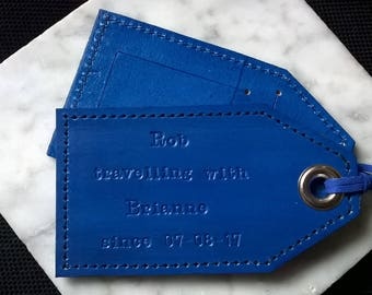 3rd Anniversary - Traveling with...since - Leather Luggage tags in various colours in lower case font
