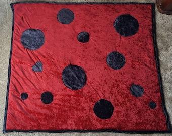 Adorable, Soft, Crushed Velvet, Lady Bug Heart, Decorative Blanket