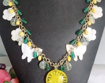 Yellow statement necklace, Butterfly necklace, Murano glass jewelry, Summer jewelry, Charm necklace, Glass bead jewelry, Mother of Pearl