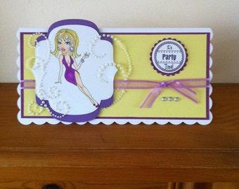 Handmade DL Size Birthday/Celerbration/Prom Card With Sassy Design Digi Image