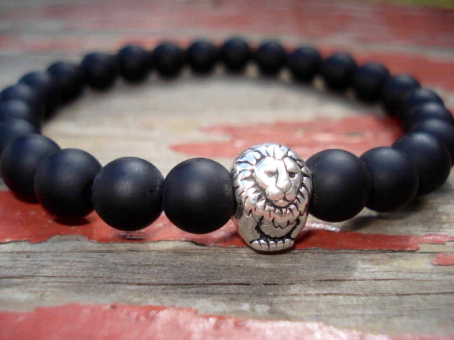 Father Day Black Onyx Bracelet Lion Bracelet Animal