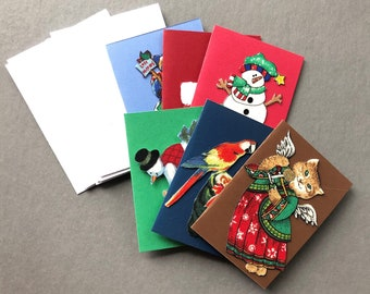 Handmade Fabric Kitty Angel Christmas Gift Enclosure Cards Set of 6
