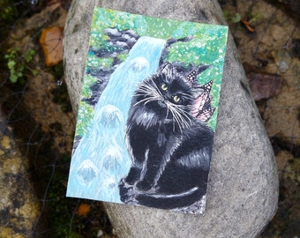 Black Cat Painting Fairy Picture Fantasy Gifts Cats Angel Art Cat Lover Gift Enchanted Forest Picture Cat ACEO Original Painting of Fairies