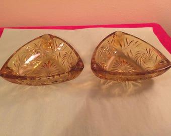 Gold Cut Glass Ashtrays - Set of Two (2)