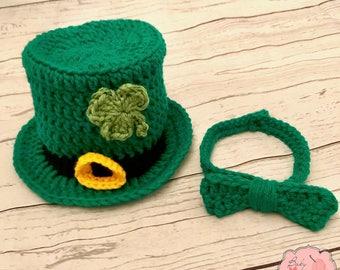 Leprechaun St Patrick's Day St Patty's day Shamrock Irish Infant Newborn Baby Outfit Beanie Top Hat Crochet Photography Photo Prop