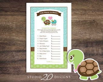 Instant Download Turtle Price Is Right Game Cards, Printable Baby Shower The Price Is Right Game, Green Blue Turtle Price Game 56A