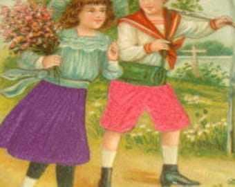 SALE Vintage Embossed Silk Postcard (Children)
