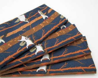 Organic Cotton Napkins - Large Cloth Napkins - Set of 4 - Dark Navy Blue Orange Brown Flying Squirrels - Dinner Table Everyday Wedding