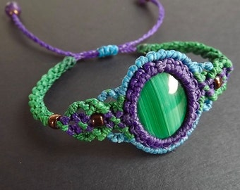 Macrame Bracelet, Boho Bracelet, Malachite with Purple, Green, and Blue Thread