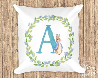 Peter Rabbit Pillow, Initial Letter Pillow, Peter Rabbit Cushion, Personalized Pillow, Monogram Pillow, Peter Rabbit Nursery, Gift For Boy