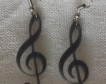Treble clef earrings grey