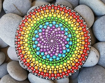 Rainbow Chakra Mandala Art - Painted Wood - Hand-Painted Meditation Mandala Rock - Home Decor - Chakra Painting - Meditation Art