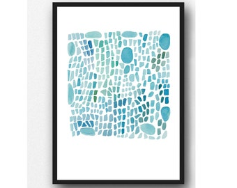 Sea glass art, abstract  Watercolor painting turquoise Sea Glass painting, coastal painting