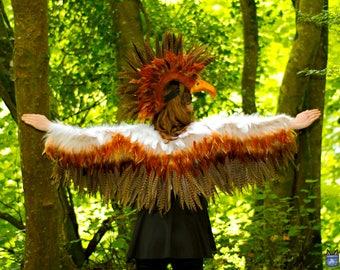 Bird wings costume, feather wings costume, feather wings, adults bird costume, owl costume, wing cape, raven crow, angel wings costume, LARP