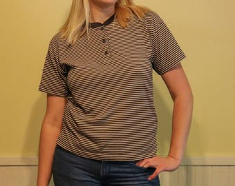 """80s Vintage Striped Henley T-shirt """"Just For Petites"""" -- Size PS"""