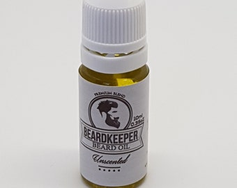 BeardKeeper Conditioning Beard Oil - Growth,Thickness,Softer Beard & Stop Itching 10ml - Includes Hemp Oil - UNSCENTED