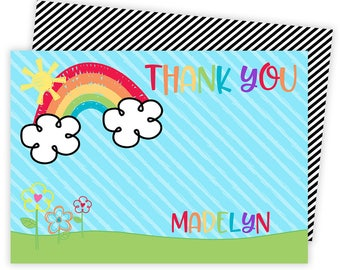 Rainbow Thank You, Rainbow Thank You Card, Rainbow Note Card, Rainbow Stationery, Rainbow Stationary, Thank You Cards, Thank You Notes | 134