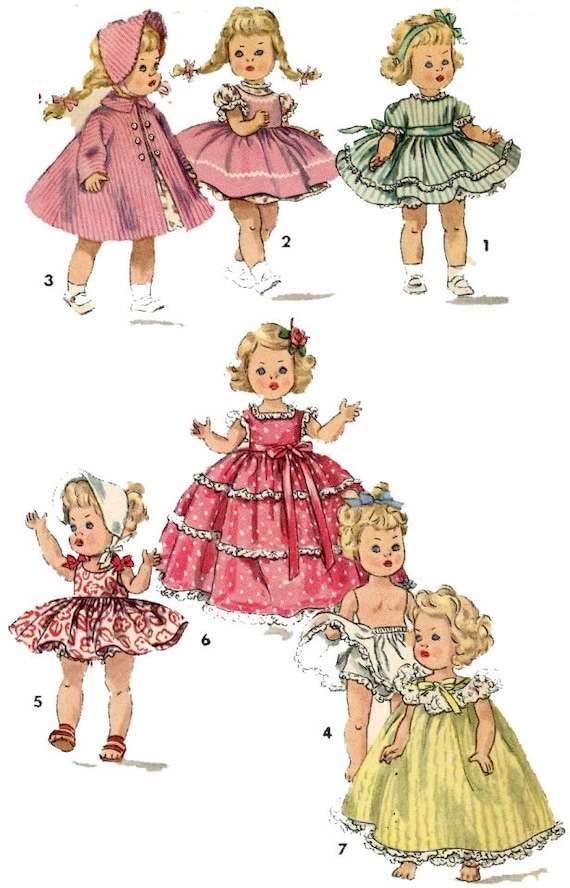 Vintage Doll Clothes PATTERN 1372 for 8 in Ginny Muffie Alexander ...