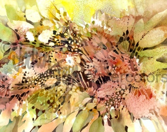"""Abstract Flowers Art Print, Floral, Bubbles, Peach, Pink, Olive and Yellow Green, Watercolor Painting Wall Art, Home Decor, """"Ebullience"""""""