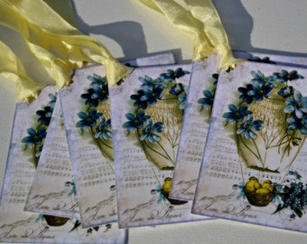 Easter Tags Vintage Style Hot Air Balloon with Chicks Tags Set of 6