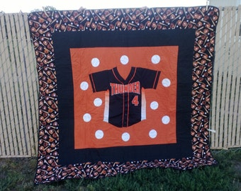 Personalized sports  jersey quilt